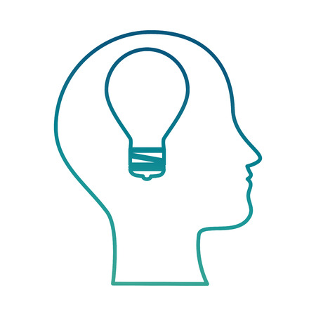 Profile with bulb light vector illustration design