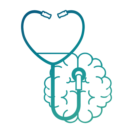 Brain with stethoscope medical vector illustration design Illustration