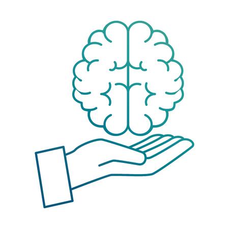 Hand human with brain vector illustration design Illustration