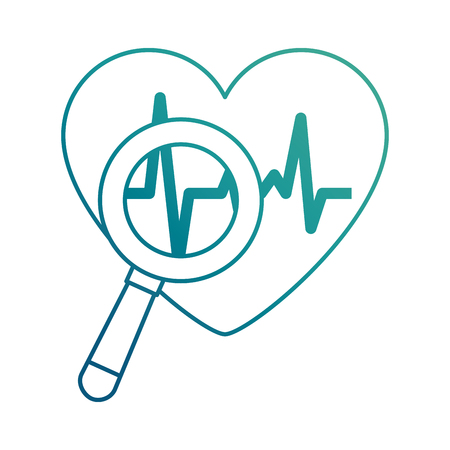 Heart cardiology with magnifying glass vector illustration design Ilustracja