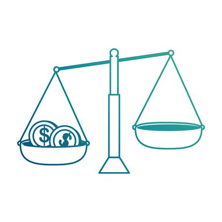 동전 벡터 일러스트 디자인과 균형 측정 일러스트