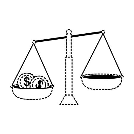 Saldomaat met ontwerp van de muntstukken het vectorillustratie
