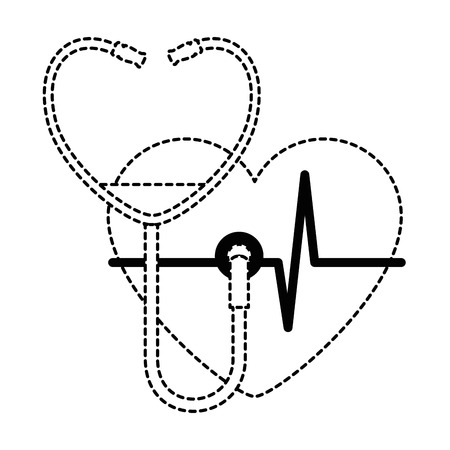 Heart with stethoscope medical vector illustration design