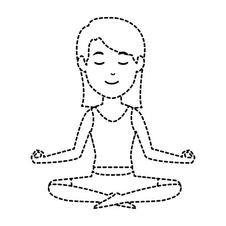 Vrouw het praktizeren vector de illustratieontwerp van het yogakarakter Stockfoto - 90452617