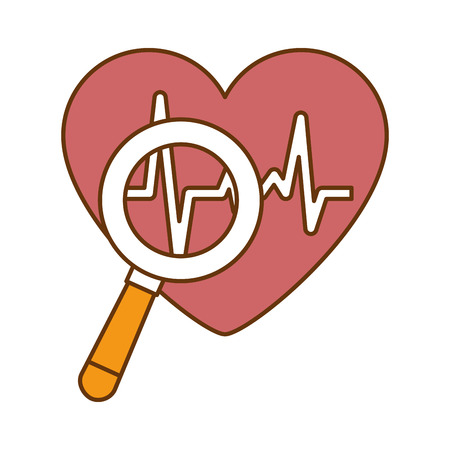 Heart cardiology with magnifying glass vector illustration design Illustration