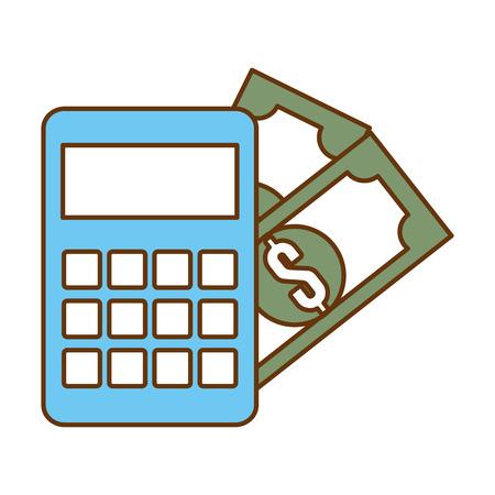 Calculator device with dollars vector illustration design Illustration