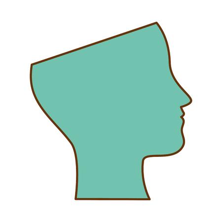 인간의 프로필 격리 된 아이콘 벡터 일러스트 디자인