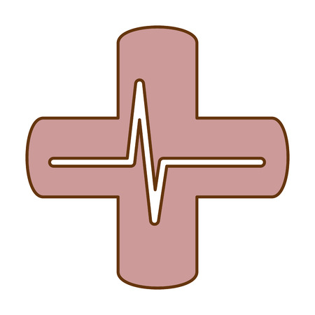 Cross with EKG isolated icon vector illustration design