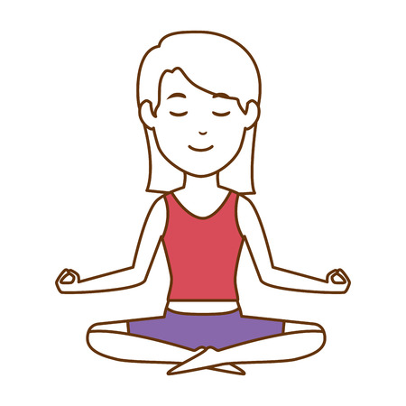 Woman practicing yoga character vector illustration design Stock Vector - 90453055