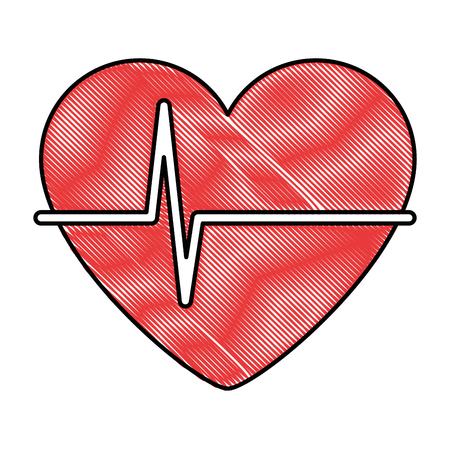 Heart with pulse icon vector illustration design Illustration