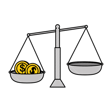 Balance measure with coins vector illustration design