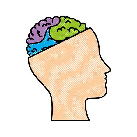 두뇌 벡터 일러스트 레이션 디자인과 인간의 프로필