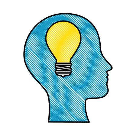 Profil avec la conception d'illustration vectorielle de lumière ampoule Banque d'images - 90454954