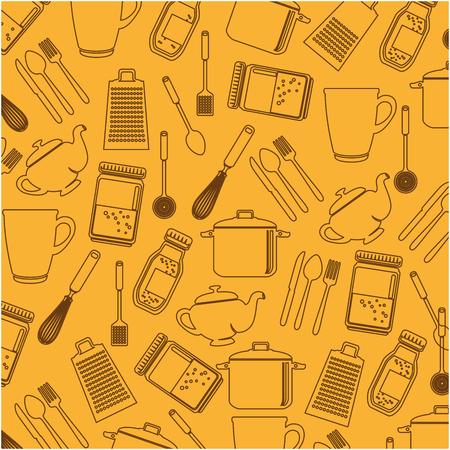 Set kitchen utensils pattern background vector illustration design Ilustração