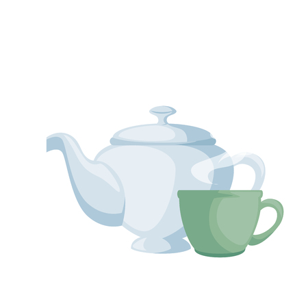 Teapot elegant with cup vector illustration design