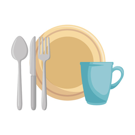 Dish with cup and cutlery vector illustration design