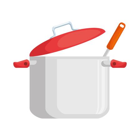 Keukenpot met ontwerp van de gietlepel het vectorillustratie Stock Illustratie