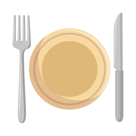 Dish with fork and knife vector illustration design Ilustrace
