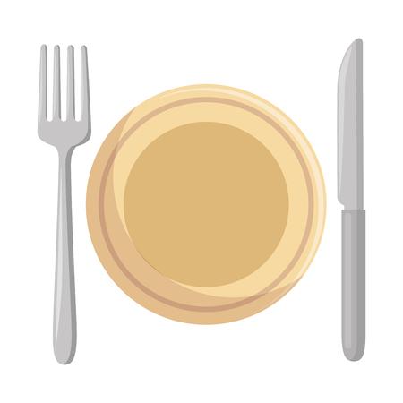 Dish with fork and knife vector illustration design Illustration