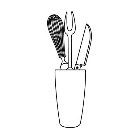 Mixer en bestek in ontwerp van de potten het vectorillustratie