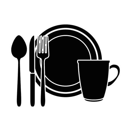 컵과 칼 붙이 벡터 일러스트 디자인 요리 스톡 콘텐츠 - 90454532