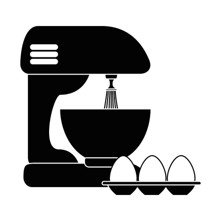 Mixer electric with eggs vector illustration design