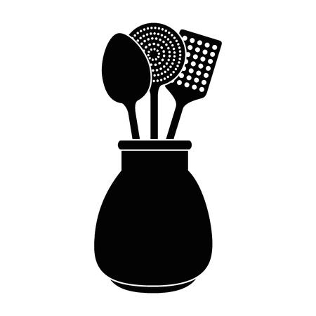 Coltelleria dei cucchiai nella progettazione dell'illustrazione di vettore del vaso Archivio Fotografico - 90454548