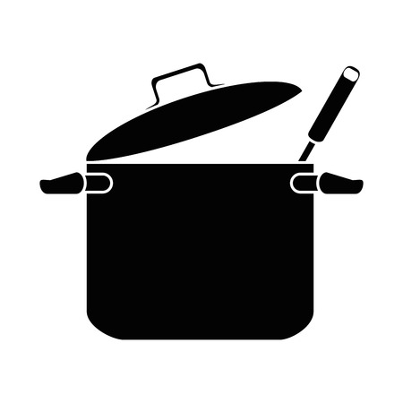 Kitchen pot with ladle vector illustration design