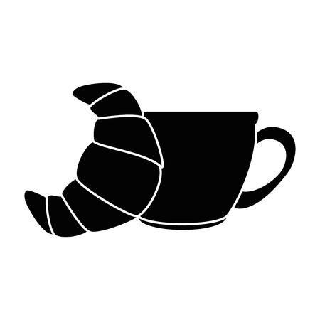 Coffee cup with croissant vector illustration design Illustration
