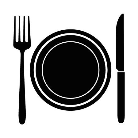 Dish with fork and knife vector illustration design Ilustração