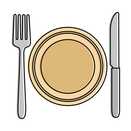Dish with fork and knife vector illustration design Illusztráció