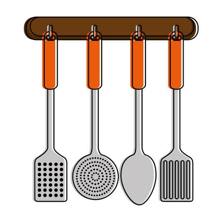 Set kitchen cutlery hanging vector illustration design Illustration
