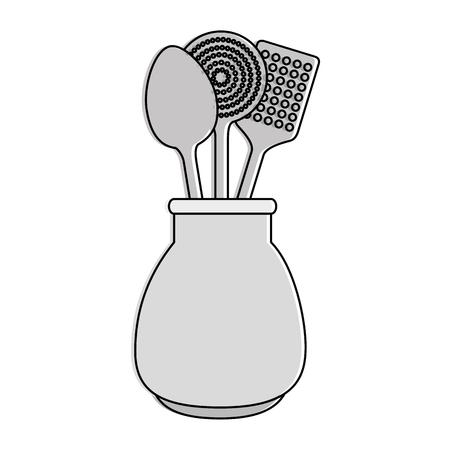 Spoons cutlery in pot vector illustration design Illustration