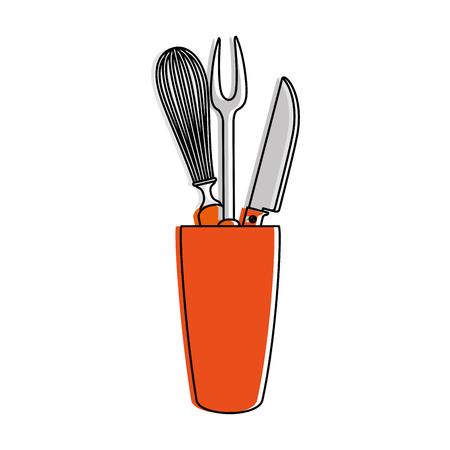 Mixer and cutlery in pot vector illustration design Illusztráció