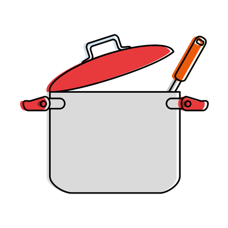 Kitchen pot with ladle vector illustration design