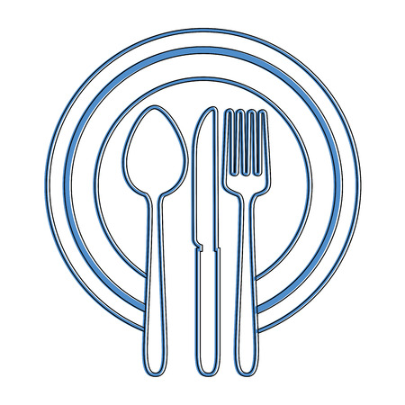 Dish with cutlery set isolated icon vector illustration design