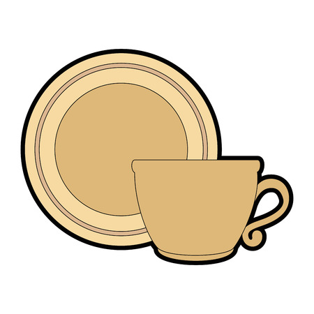 Dish with cup isolated icon vector illustration design