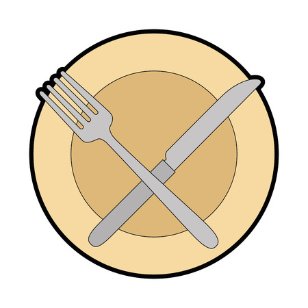 Dish with fork and knife vector illustration design Çizim