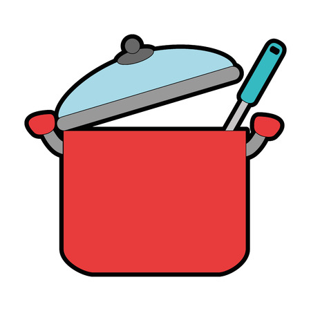 Kitchen pot with ladle vector illustration design Stock Vector - 90455437