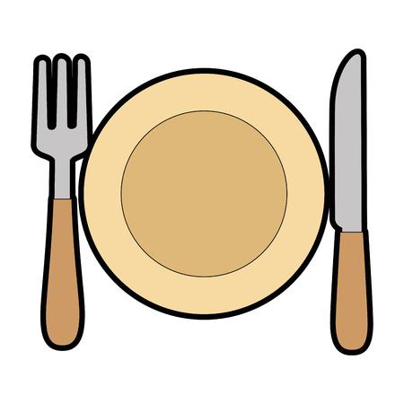 Dish with fork and knife vector illustration design Çizim