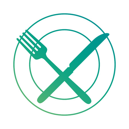 Dish with fork and knife vector illustration design Illustration