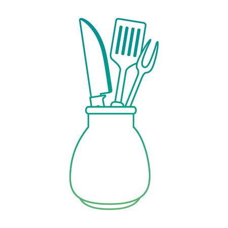 Grill cutlery in pot vector illustration design