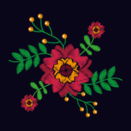 embroidery with flowers textile traditional fashion black background vector illustration