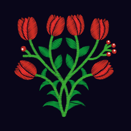 elegant embroidery decorative tulip flowers design floral style vector illustration