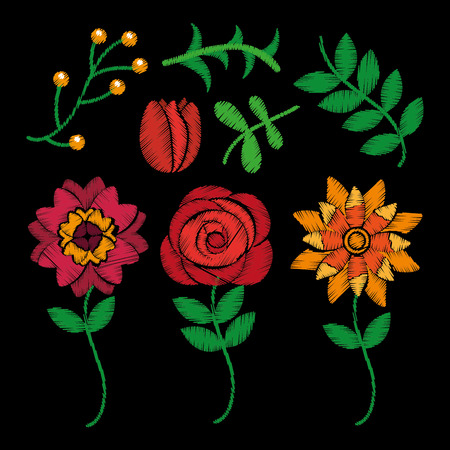 fashion embroidery stitches flowers and leaves floral black background vector illustration Ilustrace