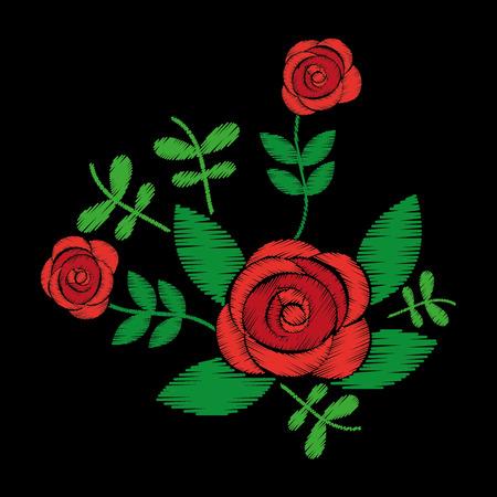 embroidery roses floral leaves pattern fashion on black background vector illustration Illustration