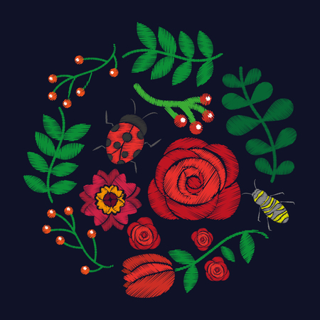 fashion embroidery stitches flowers and leaves floral black background vector illustration Reklamní fotografie - 90418890