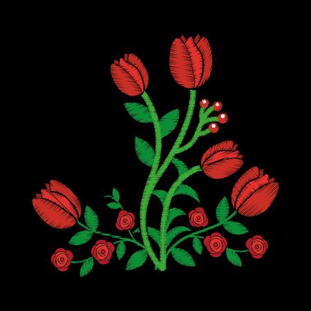 우아한 자수 장식 장미 꽃 디자인 꽃 스타일 벡터 일러스트 레이션