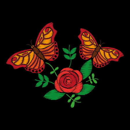 embroidery roses and butterfly ornament for the floral pattern vector illustration