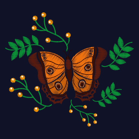 cute butterfly with leaves berries exotic fashion embroidery vector illustration Ilustrace